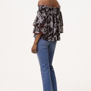 064d9709a72617 LOFT Tops - LOFT Velvet Trim Paisley Off The Shoulder